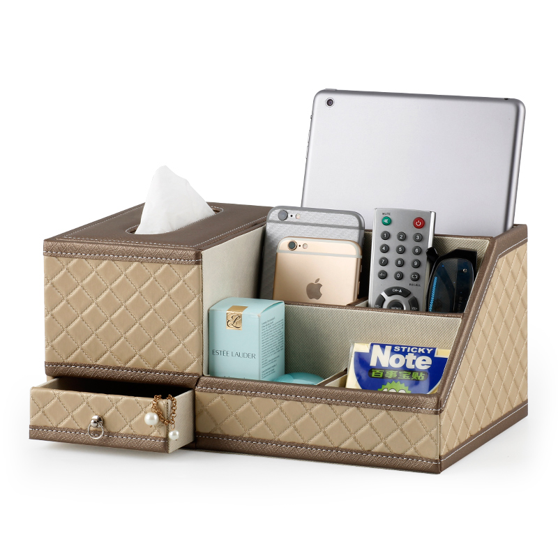 简约欧式皮革桌面遥控器收纳盒 创意抽屉式家用纸巾盒 抽纸盒木质5元优惠券