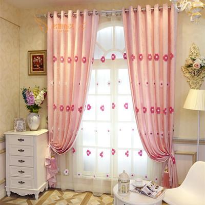雪尼尔窗帘粉色绣花品牌旗舰店