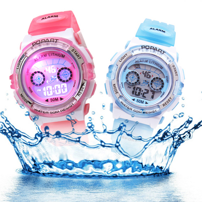 博艺小朋友彩光防水米奇型电子手表男女孩儿童初中小学生腕表正品哪里购买