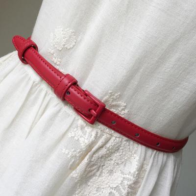 时尚简约百搭真皮牛皮配裙子装饰细腰带女士红色黑色小皮带女白色