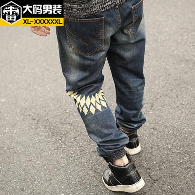 雷哈格尔大码牛仔裤男春季加肥加大号男装长裤印花胖子牛仔裤宽松