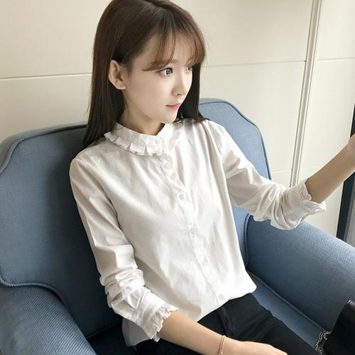 春秋季韩版小清新花边立领学生白色打底上衣女学院风长袖纯棉衬衫