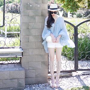 图片:ZHUYIYI2017夏季新款仙女上衣淡蓝色灯笼袖长袖两件套雪纺衫