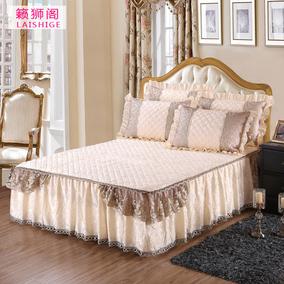 欧式天鹅绒夹棉蕾丝床裙单件加厚席梦思床套秋冬保暖韩版床盖床罩