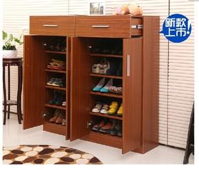 双门附格三列简约鞋柜 实木鞋柜 带抽屉鞋柜组合鞋柜可定制