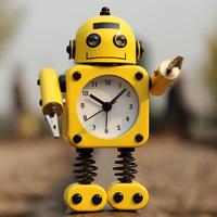 金属机器人闹钟糖果色学生卡通闹钟儿童静音闹钟创意可爱小闹钟
