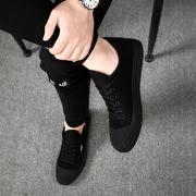 秋天男鞋潮鞋2018新款帆布鞋子男韩版潮流男士休闲鞋运动黑色板鞋