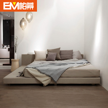柏幕韩式现代简约北欧风格1.8M布艺榻榻米双人床布艺床布床BMC108