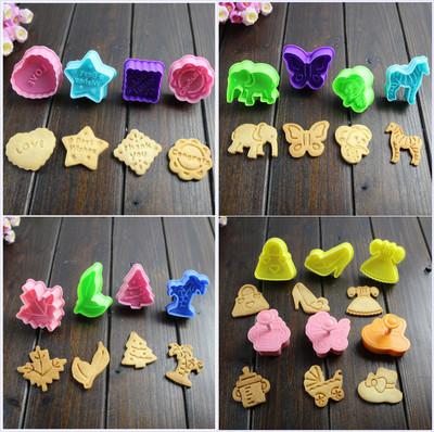 圣诞节卡通饼干模具 弹簧按压式卡通3D立体饼干模具 祝福婴儿动物