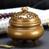 纯铜香炉大号线香插檀香炉家用室内盘香炉客厅香台摆件禅意供佛奉