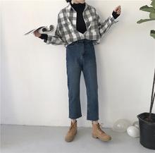 2017女装新款韩版学生复古做旧百搭毛边阔腿牛仔裤潮女高腰九分裤