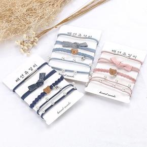韩国可爱小熊头绳珍珠发圈蝴蝶结珍珠扎头发皮筋发绳头饰皮套组合