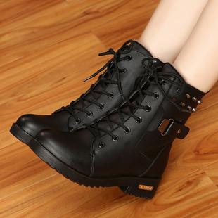 冬季马丁靴英伦风雪地棉鞋 短靴女鞋 加绒学生皮鞋 子短筒粗跟女靴子