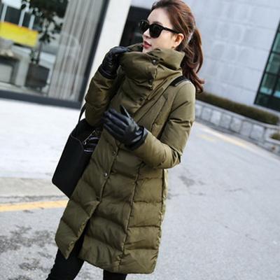 冬季pu皮拼接棉衣外套女装韩版中长款棉服加厚保暖修身棉袄潮