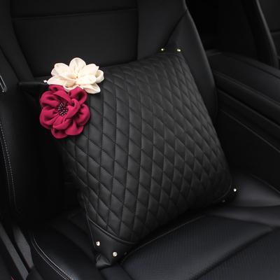 雅越时尚紫米花镶钻汽车抱枕一对车载内饰抱枕靠垫四季通用腰靠枕