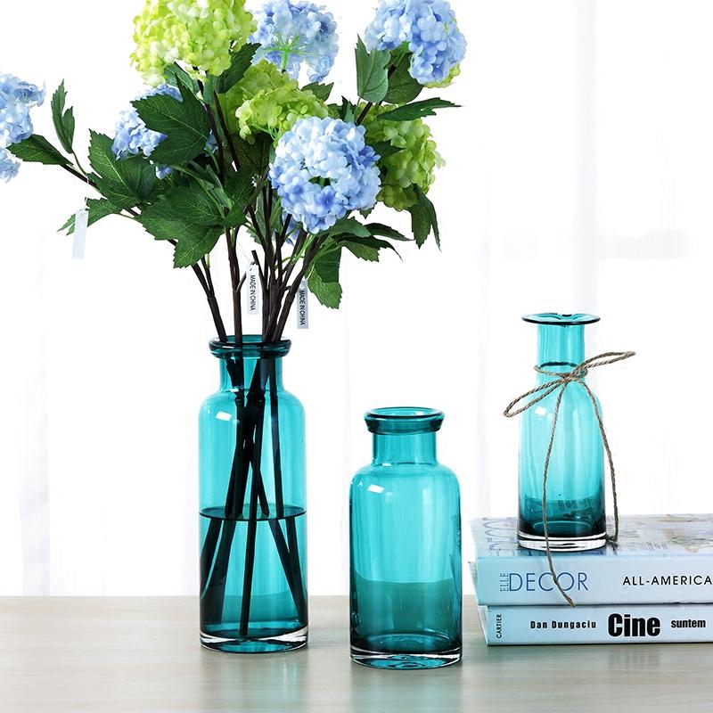皓杨 简约透明蓝色玻璃花瓶 客厅装饰摆件水培卧室插花花瓶