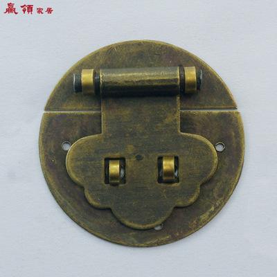 赢领 中式仿古化妆箱纯铜箱扣小木箱迷你古铜搭扣锁扣4CM箱锁