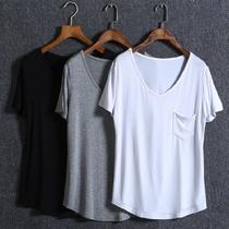 夏季新款欧美宽松纯色莫代尔简约百搭V领短袖T恤大码女装打底衫