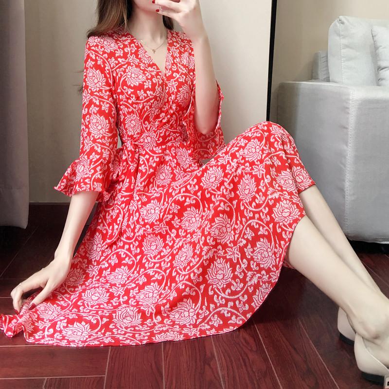 加大码女装夏新款胖mm修身性感度假雪纺裙胖妹妹喇叭袖大红连衣裙