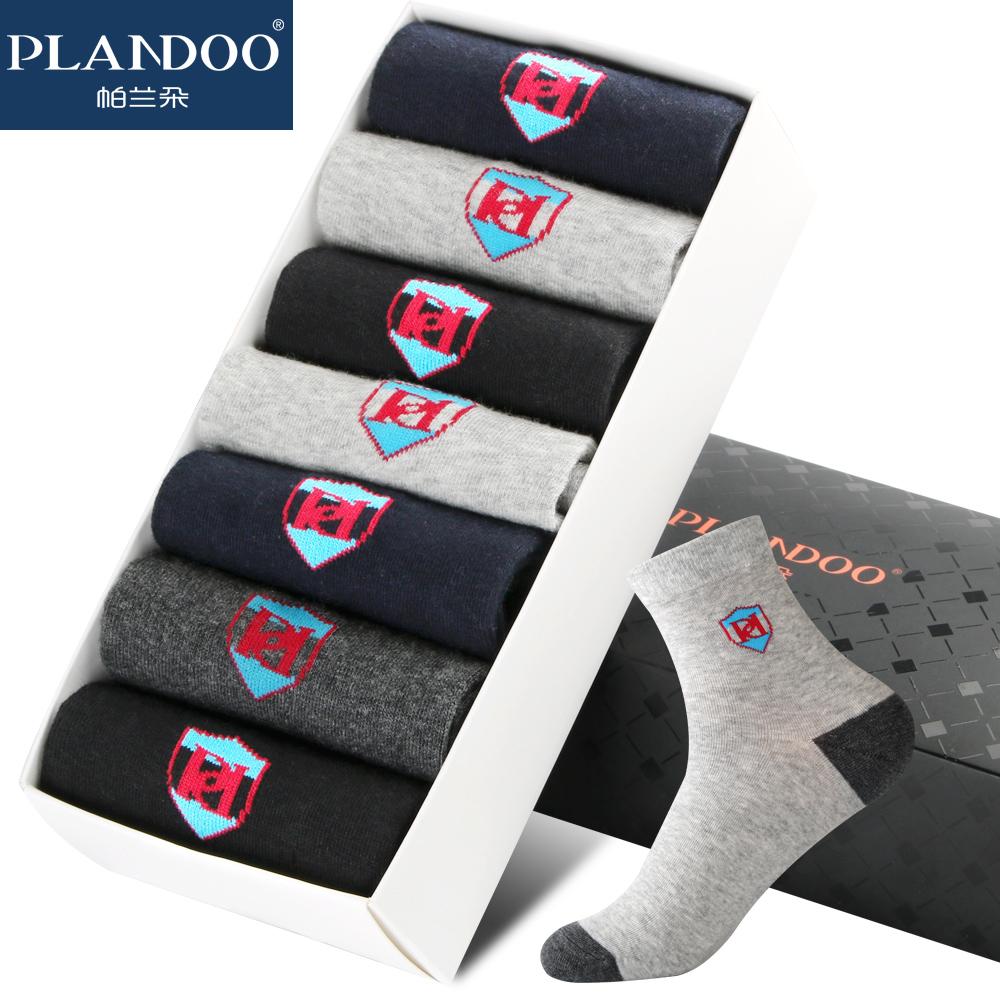 PLANDOO/帕兰朵7双装男士袜子纯棉四季中筒棉袜夏季薄款运动短袜