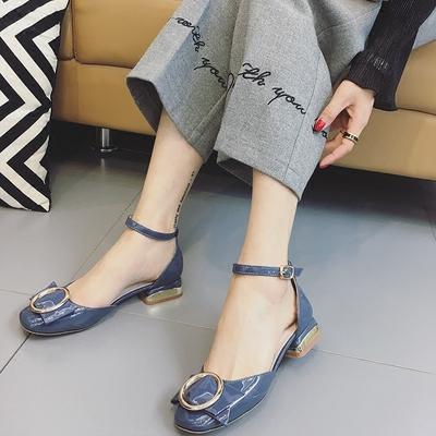 仙女的鞋中跟少女包头女生凉鞋韩版夏季2019新款低跟粗跟显脚瘦