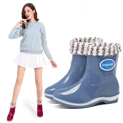 2018雨鞋女士中筒保暖雨靴防滑加绒女式水鞋短筒胶鞋成人水靴套鞋
