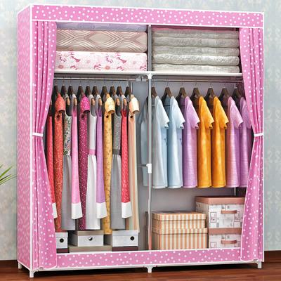 双人家用加固加粗钢管简易布衣柜 经济型布艺不锈钢便携拼装衣柜实体店