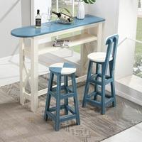 复古实木做旧小吧台桌 靠墙家用客厅隔断酒吧柜台咖啡桌高脚桌椅