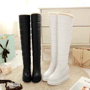 2017冬季保暖过膝靴长筒雪地靴女棉靴坡跟厚底高跟皮靴加厚毛棉鞋