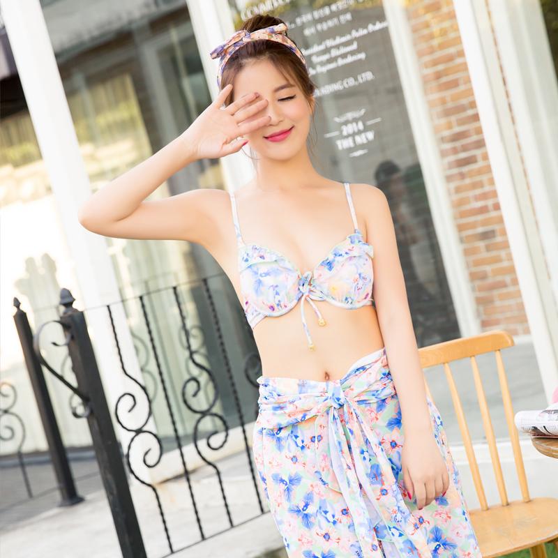 韩国温泉比基尼裙式连体泳衣女士显瘦遮肚小胸学生钢托保守泳装女3元优惠券