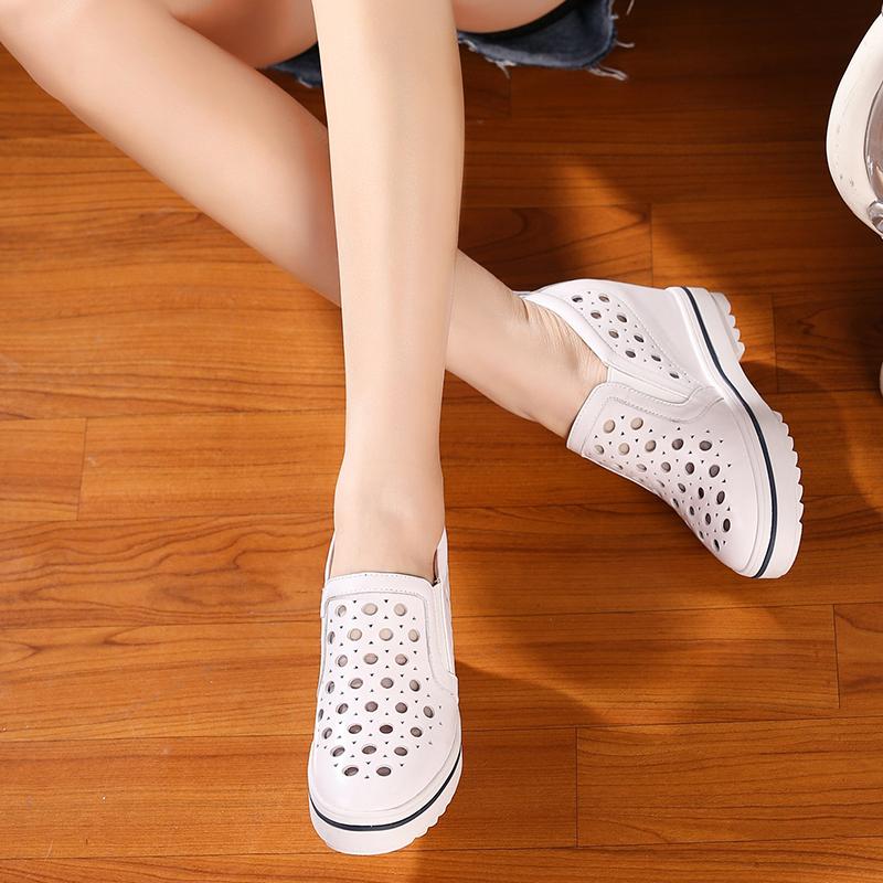 真皮休闲鞋女内增高厚