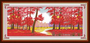 清晰印花十字绣红色枫树林全景图十字绣简约现代新款客厅大幅风景