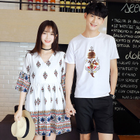 情侣装夏装连衣裙2017短袖T恤男夏季名族风海边蜜月度假沙滩女裙