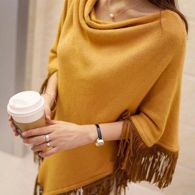 2018秋装新款韩版时尚女装宽松流苏套头毛衣斗篷披肩针织衫外套