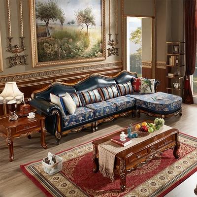简约美式乡村真皮沙发欧式头层牛皮大小户型客厅转角沙发组合贵妃