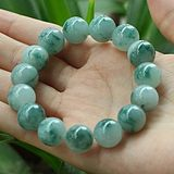 Genuine Myanmar jade bracelet natural genuine old pit A cargo ice species floating blue flower ball-ball hand-made men and women's jade chain