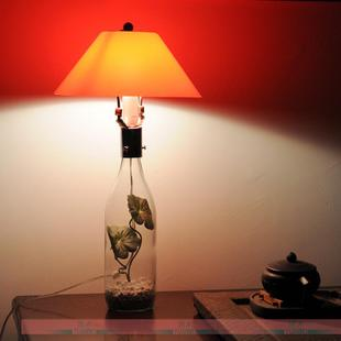 大谷设计透明玻璃台灯仿真花卉酒瓶灯餐厅咖啡厅书房简约台灯NEW
