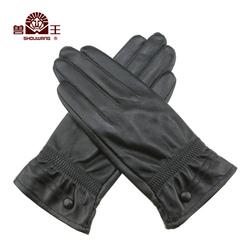 兽王真皮手套女士分指长款防风休闲保暖加绒加厚冬季开车皮手套