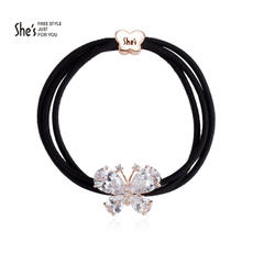 [Shopping mall with the same paragraph] shes hair accessories butterfly synthetic cubic zirconia double thin hair rope ponytail leather rope
