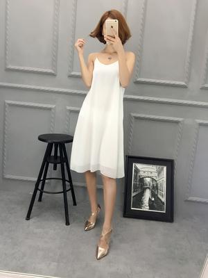 2017夏季新款 雪纺吊带背心双层打底连衣裙 细带性感长款内搭裙女