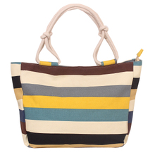 Printed canvas ladies'large-capacity one-shoulder bag for leisure shopping, large bags of striped canvas ladies' one-shoulder handbag
