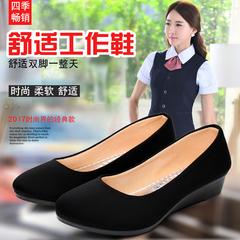 女黑色职业坡跟鞋