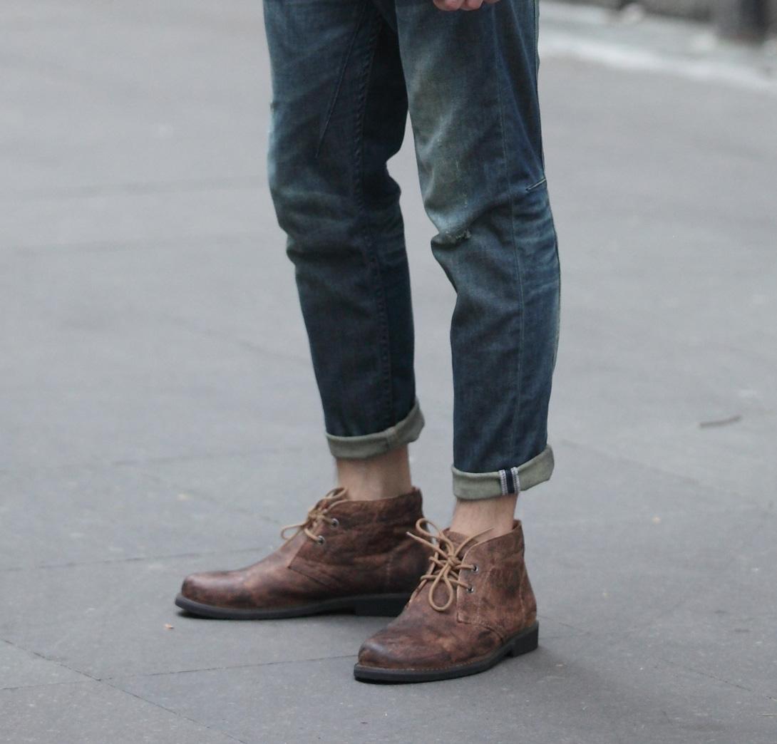 男靴子短靴子复古做旧