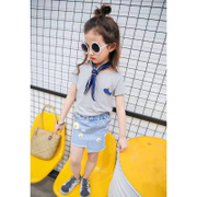 童装女童夏季套装2017新款韩版潮女孩衣服短袖短裙休闲两件套8060