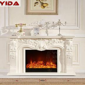 1.1米1.4米欧式壁炉实木白色装饰柜仿真火led电取暖壁炉芯电视柜