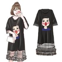 大码夏装女胖mm新款韩版中长款网纱拼接宽松显瘦遮肚子连衣裙藏肉