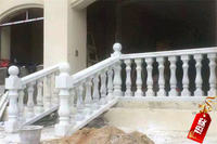 Natural stone balcony railings stair railings outdoor Rome pillars granite Guangxi white marble railings finished