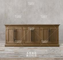 欧式法式餐边柜储物柜美式客厅实木做旧电视柜视听柜餐厅碗柜橱柜