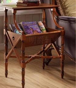 美式家具实木书报架落地杂志架 欧式现代简约置物多层创意报刊架