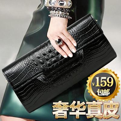 新款时尚手拿包女真皮欧美鳄鱼纹牛皮品牌手包宴会女包手抓包包潮